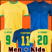 2021 Soccer Jersey Camiseta de Futbol Paqueta Neres Coutinho Brazilië Voetbal Shirt Firmino Jesus Marcelo Pele Brasil 20 21 Maillot de Foot Men + Kids Kit 999