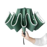 Umbrellas Windproof Reverse Folding Automatic Rain Umbrella For Men Women 10 Ribs Reflective Stripe Portable Female Male Parasol
