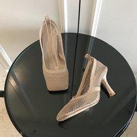 Moda Lüks Tasarımcı Kadın Ayakkabı Yüksek Topuklu Kare Ayak Elbise Ayakkabı Mesh ve Berry Buzağı Kadın Seksi Zincir Sandal Schuhe Streç Pompalar