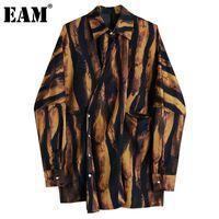 Женские блузки Рубашки [EAM] Женщины большой размер коричневый зебра полоса блузка отворота с длинным рукавом свободная подходит рубашка мода прилив весна осень 2021 1d