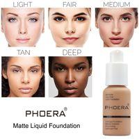 Phoera 30ml Natural Base Maquillage Professionnel Matte Fondation Fondation Crème Finition Maquillage Maquiagem