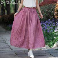 Skirts OriGoods Summer 2021 Skirt Women Harajuku Plus Size Long High-waisted Kawaii Korean Fashion Jupe Femme B315
