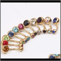 Navel Belly Ring B12 50Pcs Lot Mixed 10 Color 14G Stainless Steel Gold Belly Banana Ring,Navel Button Ring Body Piercing Jewelry Qoddq Lhhay