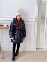 high quality Children's Down Coat Winter Teenage Baby Girls goose down-padded Parka & Coats Thicken Warm Long Jackets with belt Toddler Kids Outerwear