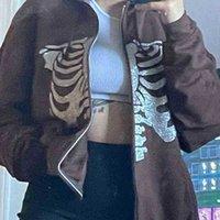 Y2K Gothic Sweatshirt Oversized Hoodie Women Restore Zip Up Long Mouths Jacket Top Female 90S Vintage E-Harajuku Grunge Clothing