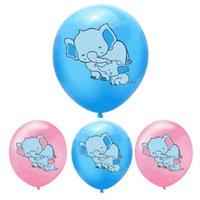 Palloncini in lattice del palloncino di elefante del fumetto da 12 pollici del fumetto blu Palloncino animale rosa per baby shower e decorazione 60pcs pack