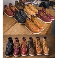 Hot Sale Mens Boots Spring Red Ankle Boots Man Wing Warm Outdoor Work Martin Cowboy Motorcycle Heel Male
