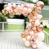96pcs Macaron Arancione Balloon Garland Arch Kit Chrome Rose Gold Ballon con 4D Globos Wedding Birthday Party Decor Baby Shower