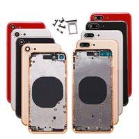 Arka Kapak iphone 8 için Artı Kırmızı Konut Pil Kapağı Arka Kapı Orta Çerçeve Şasi Montaj Parçaları Ile + SIM Tary