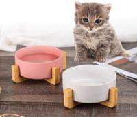 나무 스탠드와 회색 세라믹 고양이 개 그릇 접시 없음 누출 된 애완 동물 음식 물 공급기 고양이 작은 개 매트 400ml
