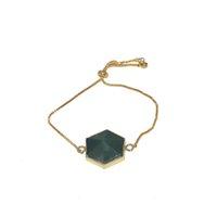 Estilo Gold Natural Gem Conector de Pedra Amor Femme 2019 Green Aventurine Pingente de Pingente Bracelete para Mulheres