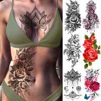 Púrpura Rose Joyería Transferencia de agua Tatuaje Pegatinas Mujeres Cuerpo Arte Tatuaje Temporal Tatuaje Cintura Pulsera Flash Tatoos Flor