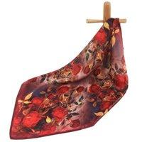 Lenços puros lenço de seda mulheres bandana rosa cabelo fêmea de alta qualidade mulheres Natural Natural Pescoço Flor de lenço