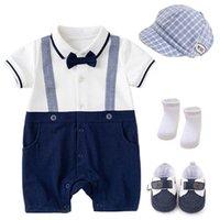 الطفل السروال القصير الفتيان داخلية الملابس الوليد القطن الصيف قصيرة الأكمام الرضع بذلة قطعة واحدة الملابس القبعات الجوارب الأحذية 4 قطع مجموعات طفل تتسابق B7186