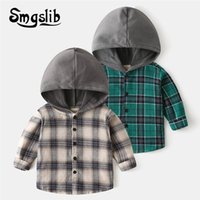 Shirts Children's Clothe Blouses 2021 Spring Autumn Baby Boys And Girls Hooded Plaid Kids 2-7 Years Cotton Blouse School Clothes