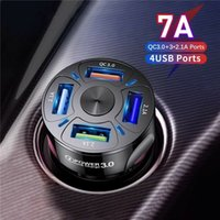 4 Ports USB Car Charger Adapter LED Display QC 3.0 Fast Charging for IOS Android