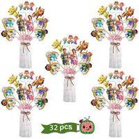 32 adet Paketi Cocomelon Kek Toppers Pot Vazo Kartı Karikatür Bayrakları Çocuk Çocuk Doğum Günü Partisi Malzemeleri Fotoğraf Sahne Masa Süs Süslemeleri Süper Erkek JJ Friendsg09Y2HP