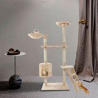 """Novo 60 """"Cat Climbing Torre Atividade Escalada Árvore Mobiliário Partilhado Cat's Ninho Agarrando Board Pet Gatinho Jogando Bege"""