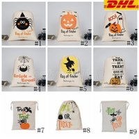 عيد الميلاد هالوين حقيبة الحلوى هدية كيس علاج أو خدعة اليقطين المطبوعة قماش أكياس هالوين حزب مهرجان حقيبة الرباط