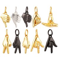 Hand Gesture Finger Sign Language Charm PendantBrass BasedReal Gold Plated Jewelry Necklace Bracelet Making Wholesale Supplies