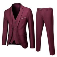 Men's Suits & Blazers Men Skinny 3 Pieces Set Formal Slim Fit Tuxedo Prom Suit   Male Groom Wedding High Quality Dress Jacket Coat Pants Ves