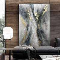 100% handgemaakte nieuwe grote grijze gouden folie abstracte muur schilderij moderne kunst canvas foto voor woonkamer olieverfschilderijen Home Decor 210310