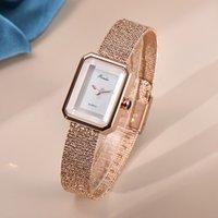 Сетчатый ремешок часы женские стиль простой и небольшой ароматный стиль фирменного света роскошь британская ниша ретро квадратная тарелка модные часы