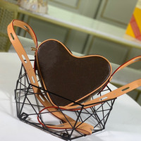 A forma di cuore dolce San Valentino Regalo Borsa a tracolla Coated Canvas Brown Flower Donne Nuova borsa di moda