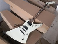 custom SP electric guitar,milk white guitar,finger inlay,fixed bridge,black knobs,mahogany body