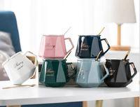 2021 venda quente copo de diamante xícara de café cerâmica e pires conjunto com colher caneca europeia xícaras de chá