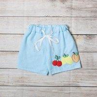 반바지 소년 여름 Seersucker 블루 세로 줄무늬 체리 레몬과 복숭아 자수 패턴 유아