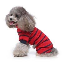 애완 동물 개 옷 홈 스트라이프 옷 애완 동물 잠옷 높은 칼라 애완 동물 개 옷 개 옷 DHD5210