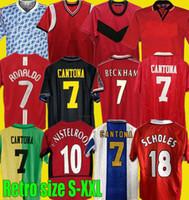 1990 92 94 96 98 99 Rétro United Rooney Ronaldo 07 08 Jersey de football 85 Keane Scholes Football Giggs Chemise Beckham Manchester Cantona