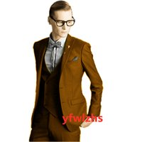 Classic Two Buttons Handsome Groomsmen Peak Lapel Groom Tuxedos Men Suits Wedding Prom Man Blazer ( Jacket+Pants+Vest+Tie) W863