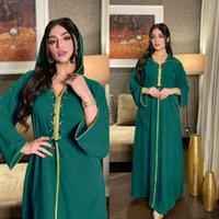 Ethnic Clothing Maxi Dresses Women Islamic Dubai Abaya Turkish Muslim Satin Plus Size Diamond Hooded Evening Dress Christmas Green