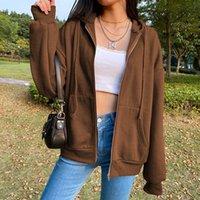 Sonbahar Moda Bayan Tişörtü Retro Fermuar Kazak Uzun Kollu Rahat Gevşek Hoodie Spor Kız Ceket Kış Giyim