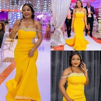 2021 African Yellow Mermaid Bridesmaid Dresses Off Shoulder Long with Crystal Satin Plus Size Maid of Honor Dress Customized Formal Evening Gowns