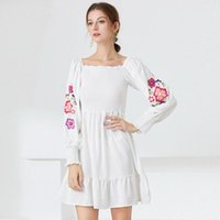 Casual Dresses Spring Autumn Dress Women Lantern Long Sleeve White Printing Slash Neck Sexy French Style A-Line Party Evening Prom Robe