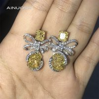 AINUOSHI 14K/18K White &Yellow Gold 8X10mm Radiant Cut Yellow SONA Diamond Bow Drop Earrings for Women Unique Party Earrings 0308