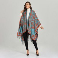 Scarves Winter Women Poncho With National Style Lady Thick Warm Blanket Shawl Wraps Cashmere Pashmina Cape 150*130 Cm