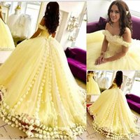 Gorgeous Yellow Quinceanera Dresses Off The Shoulder 3D-Floral Appliques Ball Gowns 2019 New Arrival Sweet 16 Dress Cheap Prom Dresses