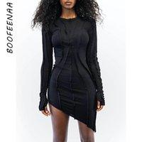 Vestidos informales Boofenaa asimétrica Bodycon Bodycon para las mujeres Ropa 2021 Moda Atractiva Cuna Mini vestido de manga larga C95-CB31