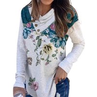 Women's Blouses & Shirts Plant Print Casual Blouse Top Cotton Blend Floral Pullover Vintage V Neck Women Base Shirt Autumn Streetwear 2021