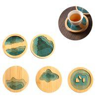 Bambusowe Podstawki Okrągły Kreatywny Kubek Mata Wodoodporna Izolacja Herbata Kawa Pad Decor Wystrój Kuchenny XBJK2107