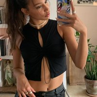 Women Sexy Hollow Out Bandage Solid Tank Top Crop Top Mouwlless Trekkoord Club Party Streetwear Outfits Black Shirt
