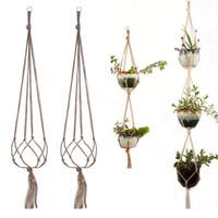 3 طبقات مع الحديد هوب البستنة النبات الأخضر شماعات زهرة وعاء صافي حقيبة القنب حبل شنقا سلة داخلي هوك الديكور LLA411