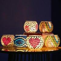 Mosaico de cristal de cristal Holderos para el hogar Decoración de la mesa de la mesa del hogar Decoración de la boda Candle Lantern regalo de San Valentín 11.5 * 9.5cm FWA3896