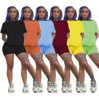 Frauen Sports-Shreadsanzug Casual Outfits Shorts Zwei Teil Sets Sommer Kurzarm T-Shirt + Mini Shorts Solid Solor Jogger Anzug Plus Größe 4632