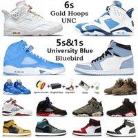 Com caixa UNC Gold Hoops Jumpman 6 Bluebird 5s masculino basquete tênis 1s Twist Court roxo University Blue Hyper Royal 6s Electric Green masculino feminino tênis esportivos