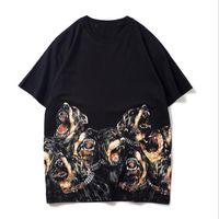 2021 verão novo homens cão cabeça imprimir camisetas moda manga curta algodão casual tshirts homens mulheres tops w25